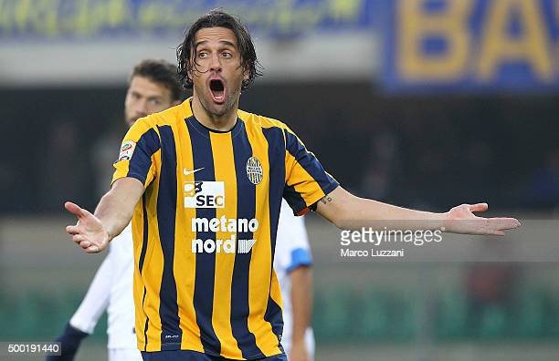 Luca Toni of Hellas Verona FC reacts during the Serie A match between Hellas Verona FC and Empoli FC at Stadio Marc'Antonio Bentegodi on December 6...