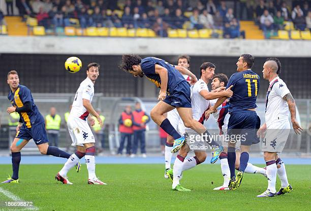 Luca Toni of Hellas Verona FC scores the first goal during the Serie A match between Hellas Verona FC and Cagliari Calcio at Stadio Marc'Antonio...