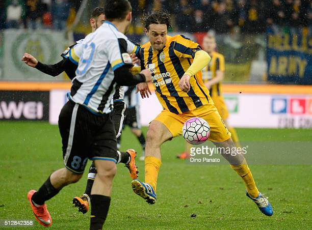 Luca Toni of Hellas Verona in action during the Serie A match between Udinese Calcio and Hellas Verona FC at Stadio Friuli on February 28 2016 in...