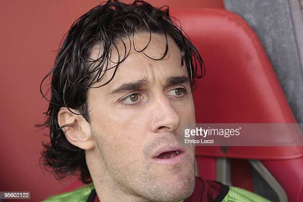 Luca Toni of Roma looks on during the Serie A match between Cagliari and Roma at Stadio Sant'Elia on January 6 2010 in Cagliari Italy