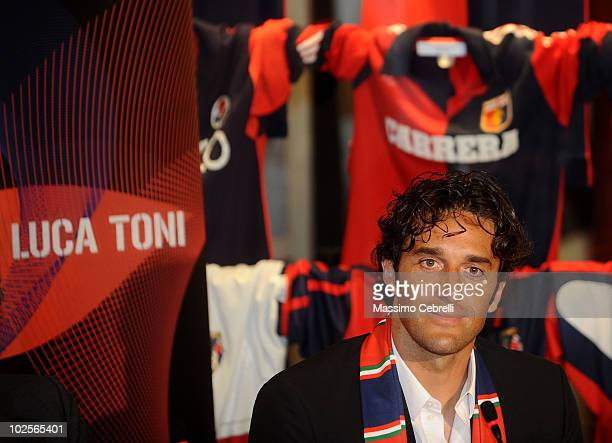 Luca Toni unveiled by Genoa CFC on July 1 2010 in Genoa Italy