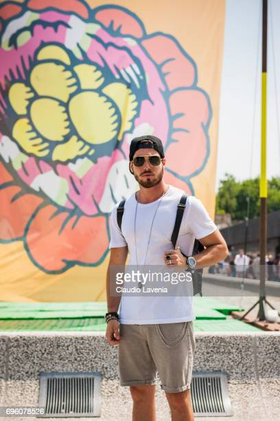 Luca Vezil is seen during Pitti Immagine Uomo 92 at Fortezza Da Basso on June 14 2017 in Florence Italy