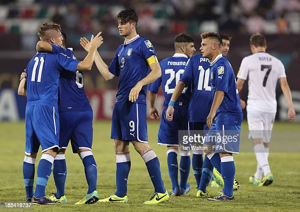 Luca Vido of Italy celebrates scoring a goal during the Group B FIFA U17 World Cup between Italy and New Zealand at Ras Al Khaimah Stadium on October...