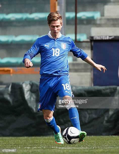Luca Vido of Italy during the international friendly match between Italy U17 and Hungary U17 at Stadio Oreste Granillo on February 19 2014 in Reggio...