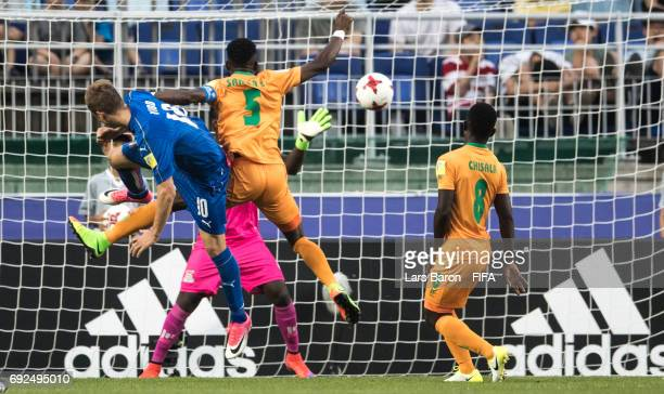 Luca Vido of Italy heads the winning goal during the FIFA U20 World Cup Korea Republic 2017 Quarter Final match between Italy and Zambia at Suwon...