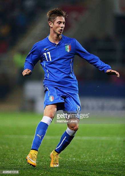 Luca Vido of Italy in action during the U19 International friendly match between England and Italy at The New York Stadium on November 14 2014 in...
