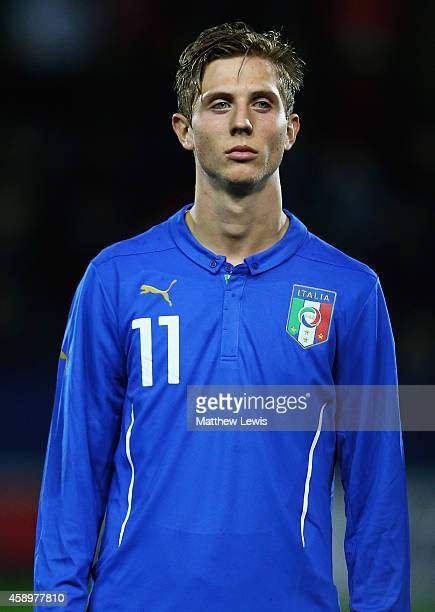 Luca Vido of Italy looks on ahead of the U19 International friendly match between England and Italy at The New York Stadium on November 14 2014 in...