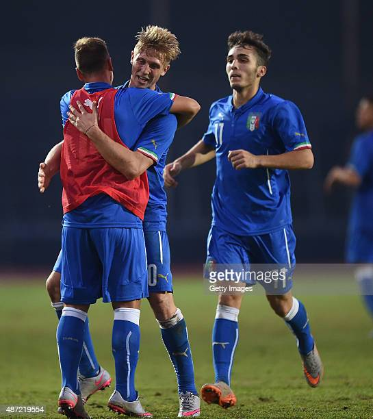 Luca Vido of Italy U19 celebrates after scoring goal 11 during the international friendly match between Italy U19 and Republic of Ireland U19 on...