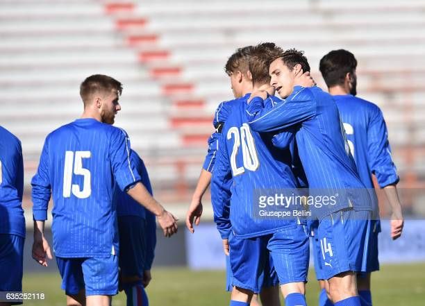 Luca Vido of Italy U20 celebrates after scoring the opening goal during the friendly match between Italy U20 and B Italia at Stadio Renato Curi on...