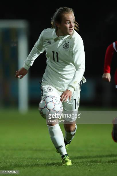 Luca von Achten of Germany in action during the U16 Girls international friendly match betwwen Denmark and Germany at the Skive Stadion on November 6...