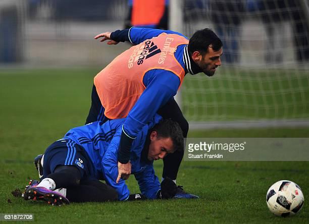 Luca Waldschmidt and Mergim Mavraj of Hamburg in action during a training session of Hamburger SV on January 17 2017 in Hamburg Germany