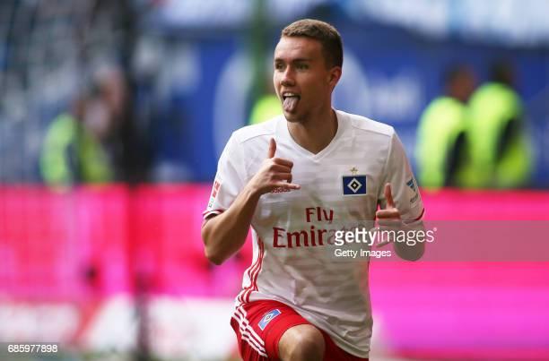 Luca Waldschmidt celebrates his first goal scoring during the Bundesliga match between Hamburger SV and VfL Wolfsburg at Volksparkstadion on May 20...