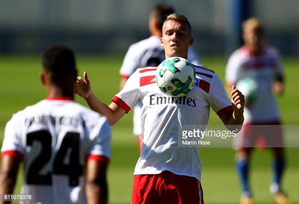 Luca Waldschmidt controls the ball during a training session of Hamburger SV at Volksparkstadion on July 9 2017 in Hamburg Germany