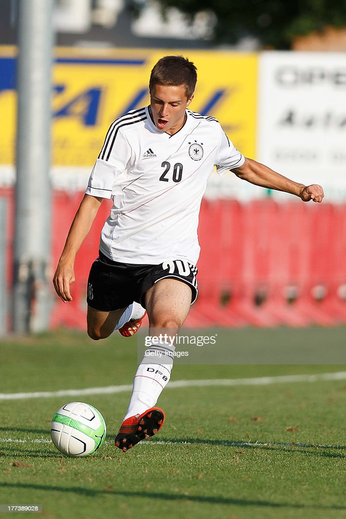 Luca Waldschmidt of Germany kicks the ball during the U17 Toto-Cup match between Germany and Belgium on August 21, 2013 in Gleisdorf, Austria.