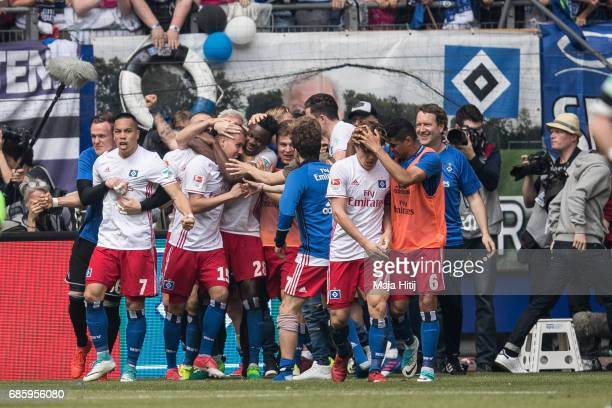 Luca Waldschmidt of Hamburg celebrates after scoring a goal to make it 21 during the Bundesliga match between Hamburger SV and VfL Wolfsburg at...