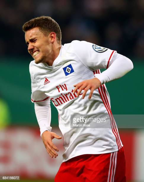 Luca Waldschmidt of Hamburg reacts during the DFB Cup round of 16 match between Hamburger SV and 1 FC Koeln at Volksparkstadion on February 7 2017 in...