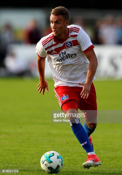 Luca Waldschmidt of Hamburg runs with the ball during the preseason friendly match between Holstein Kiel and Hamburger SV at GruemmiArena on July 19...