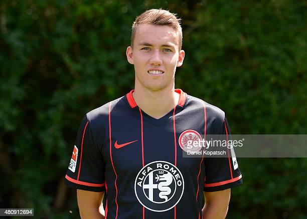 Luca Waldschmidt poses during the Eintracht Frankfurt team presentation on July 15 2015 in Frankfurt am Main Germany
