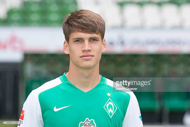 Luca Zander poses during the official team presentation of Werder Bremen at Weserstadion on July 10 2015 in Bremen Germany