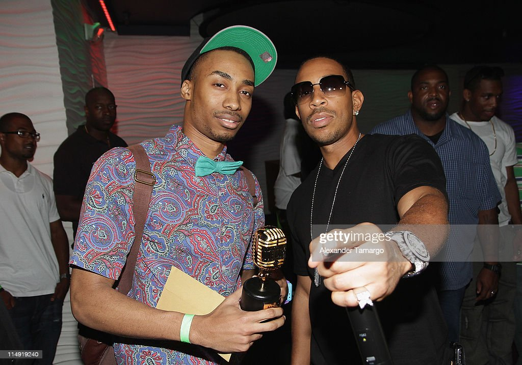 Lucacris (R) and a Ludacris Passed the Mic to the Magnum Live Large Project winner and Ludacris attend Magnum Condoms & Ludacris Wrap Up The Magnum Live Large Project 2 In Miami at Cameo nightclub on May 28, 2011 in Miami Beach, Florida.