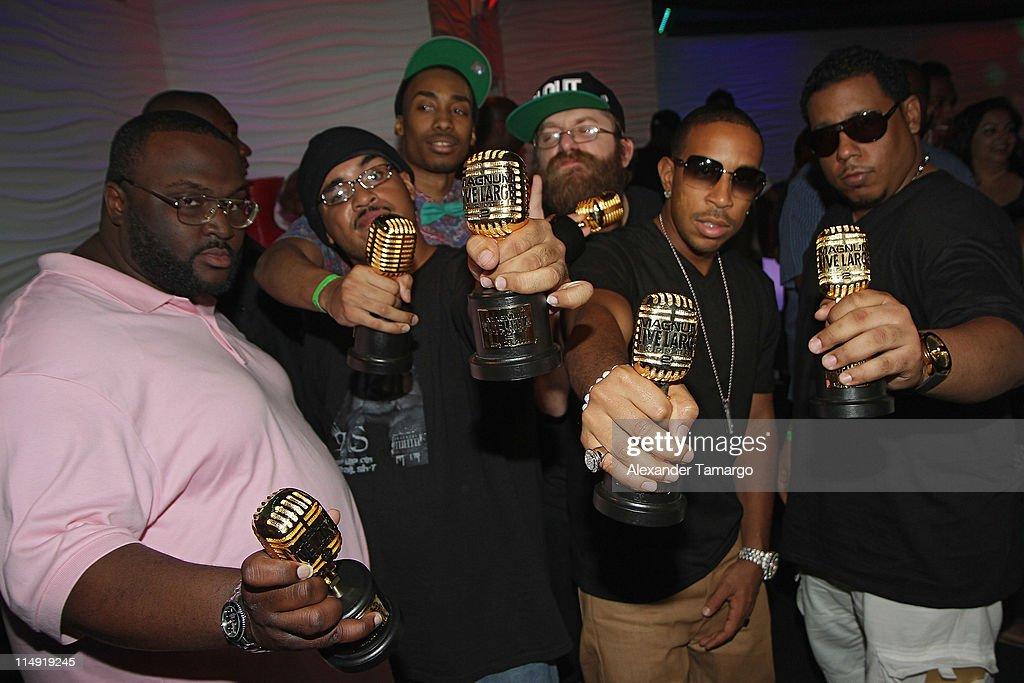 Lucacris (2nd R) and Ludacris Passed the Mic to the Magnum Live Large Project winners and Ludacris attend Magnum Condoms & Ludacris Wrap Up The Magnum Live Large Project 2 In Miami at Cameo nightclub on May 28, 2011 in Miami Beach, Florida.