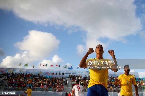 Lucao of Brazil celebrates scoring a goal during the FIFA Beach Soccer World Cup Bahamas 2017 group D match between Poland and Brazil at National...