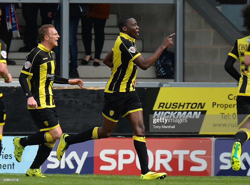 Lucas Akins of Burton Albion celebrates scoring the first goal of the match during the Sky Bet League One match between Burton Albion and Gillingham at Pirelli Stadium on April 30, 2016 in Burton-upon-Trent, England.