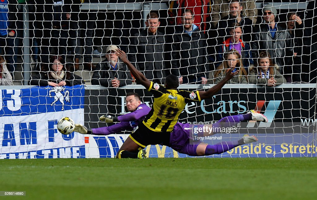 Lucas Akins of Burton Albion scoring the first goal of the match during the Sky Bet League One match between Burton Albion and Gillingham at Pirelli Stadium on April 30, 2016 in Burton-upon-Trent, England.