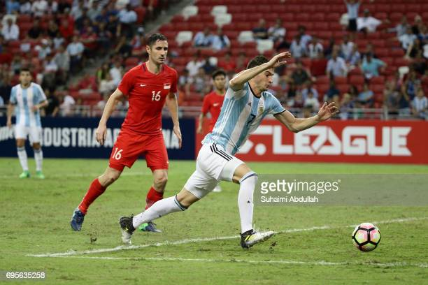 Lucas Alario of Argentina chase for the ball during the International Test match between Argentina and Singapore at National Stadium on June 13 2017...