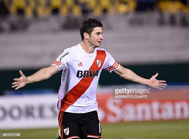 Lucas Alario of Argentine team River Plate celebrates after scoring against Paraguay's Guarani during their Libertadores Cup semifinal second leg...