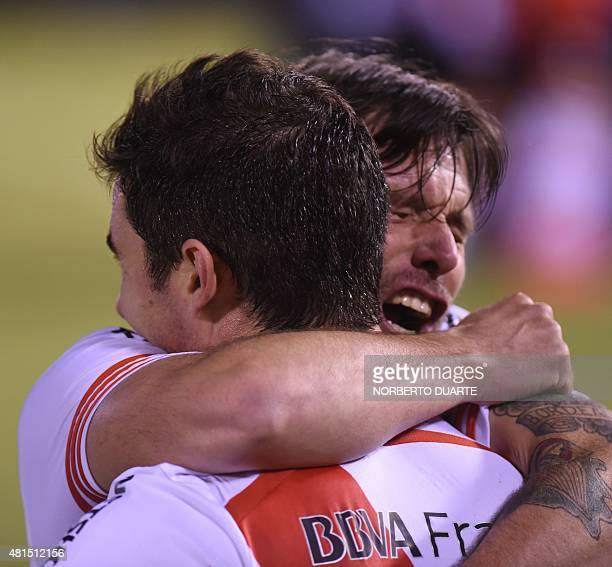 Lucas Alario of Argentine team River Plate celebrates with a teammate after scoring against Paraguay's Guarani during their Libertadores Cup...
