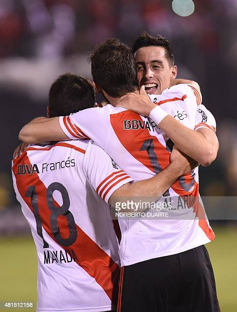 Lucas Alario of Argentine team River Plate celebrates with teammates after scoring against Paraguay's Guarani during their Libertadores Cup semifinal...