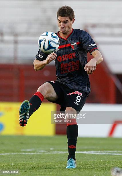 Lucas Alario of Colon controls the ball during a match between Argentinos Juniors and Colon as part of of Torneo de Transicion Nacional B 2014 at...