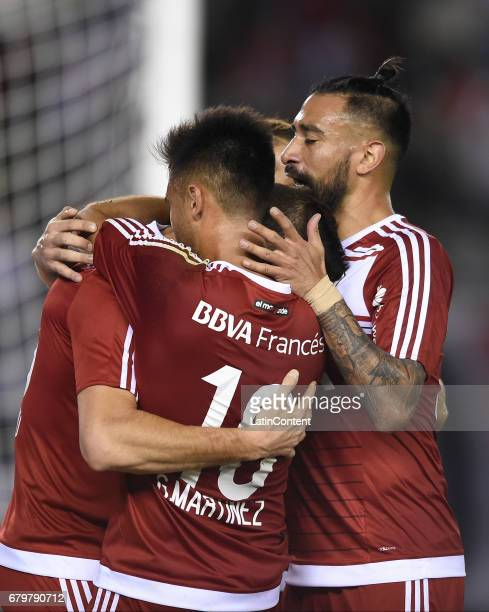 Lucas Alario of River Plate and teammates celebrate the second goal of his team during a match between River Plate and Temperley as part of Torneo...