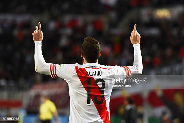 Lucas Alario of River Plate celebrates after scoring the first goal of his team during the FIFA Club World Cup semi final match between Sanfrecce...