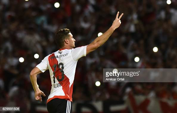 Lucas Alario of River Plate celebrates after scoring the first goal of his team during a final match between River Plate and Rosario Central as part...