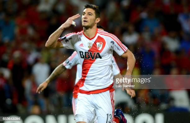 Lucas Alario of River Plate celebrates after scoring the first goal of his team during a group stage match between Deporivo Independiente Medellin...