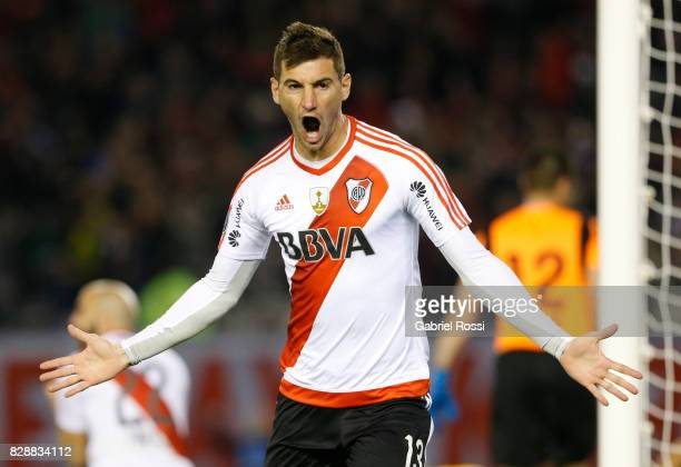Lucas Alario of River Plate celebrates after scoring the first goal of his team during a second leg match between River Plate and Guarani as part of...