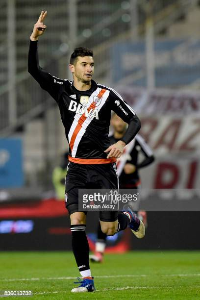 Lucas Alario of River Plate celebrates after scoring the first goal of his team during a match between River Plate and Instituto as part of round 16...