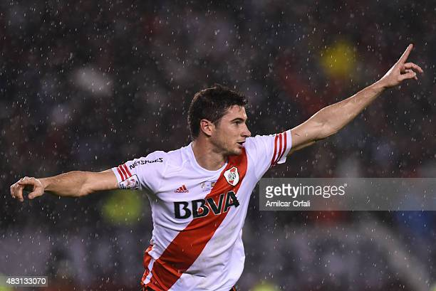 Lucas Alario of River Plate celebrates after scoring the opening goal during a second leg final match between River Plate and Tigres UANL as part of...