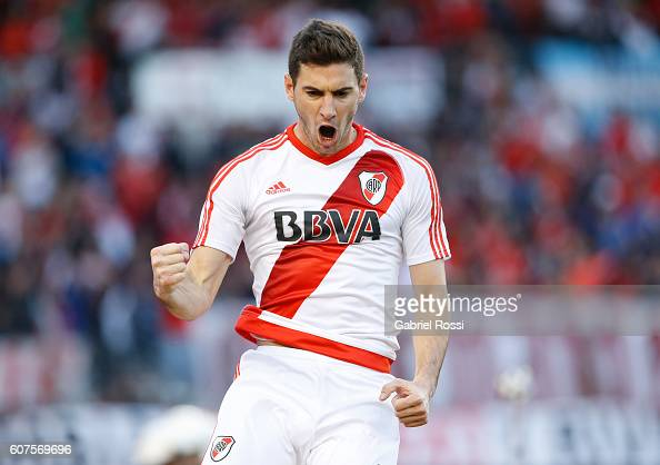 Lucas Alario of River Plate celebrates after scoring the opening goal during a match between River Plate and San Martin as part of third round of...