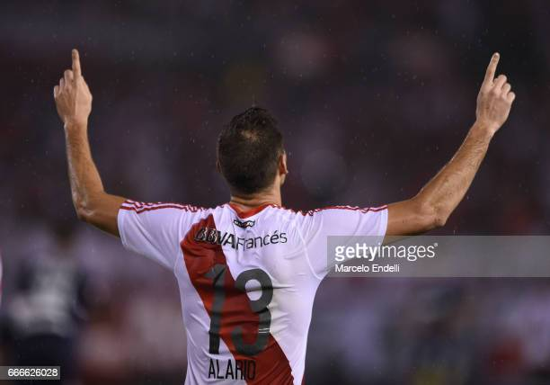 Lucas Alario of River Plate celebrates after scoring the second goal of his team during a match between River Plate and Quilmes as part of Torneo...
