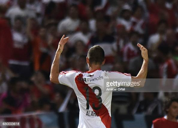 Lucas Alario of River Plate celebrates after scoring the third goal of his team during a final match between River Plate and Rosario Central as part...