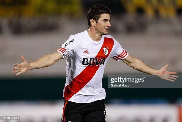 Lucas Alario of River Plate celebrates after scoring the tying goal of his team during a second leg Semi Final match between Guarani and River Plate...