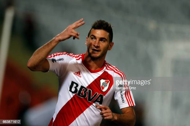 Lucas Alario of River Plate celebrates his first goal during the match between Godoy Cruz and River Plate as part of the Torneo Primera Division...