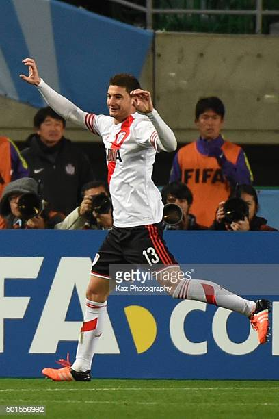 Lucas Alario of River Plate celebrates scoring the opening goal during the FIFA Club World Cup semi final match between Sanfrecce Hiroshima and River...