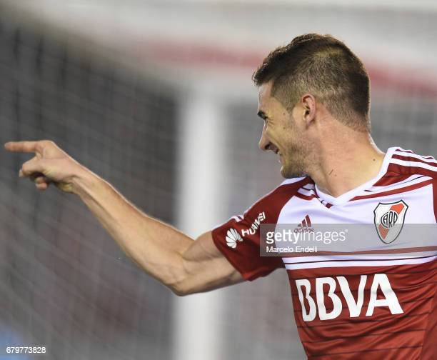 Lucas Alario of River Plate celebrates the first goal of his team during a match between River Plate and Temperley as part of Torneo Primera Division...