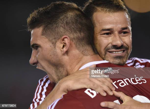 Lucas Alario of River Plate celebrates the first goal of his team with Rodrigo Mora during a match between River Plate and Temperley as part of...