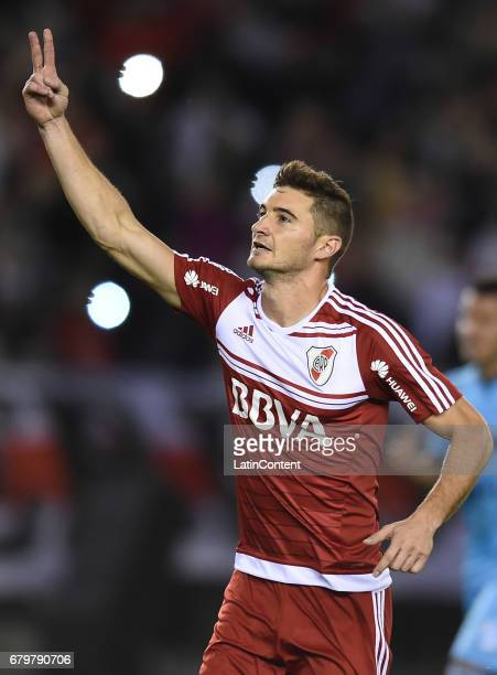 Lucas Alario of River Plate celebrates the second goal of his team during a match between River Plate and Temperley as part of Torneo Primera...
