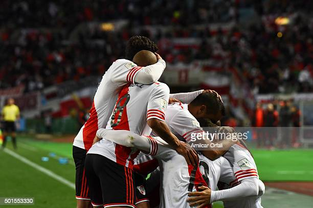 Lucas Alario of River Plate celebrates with teammates after scoring the opening goal during the FIFA Club World Cup semi final match between...